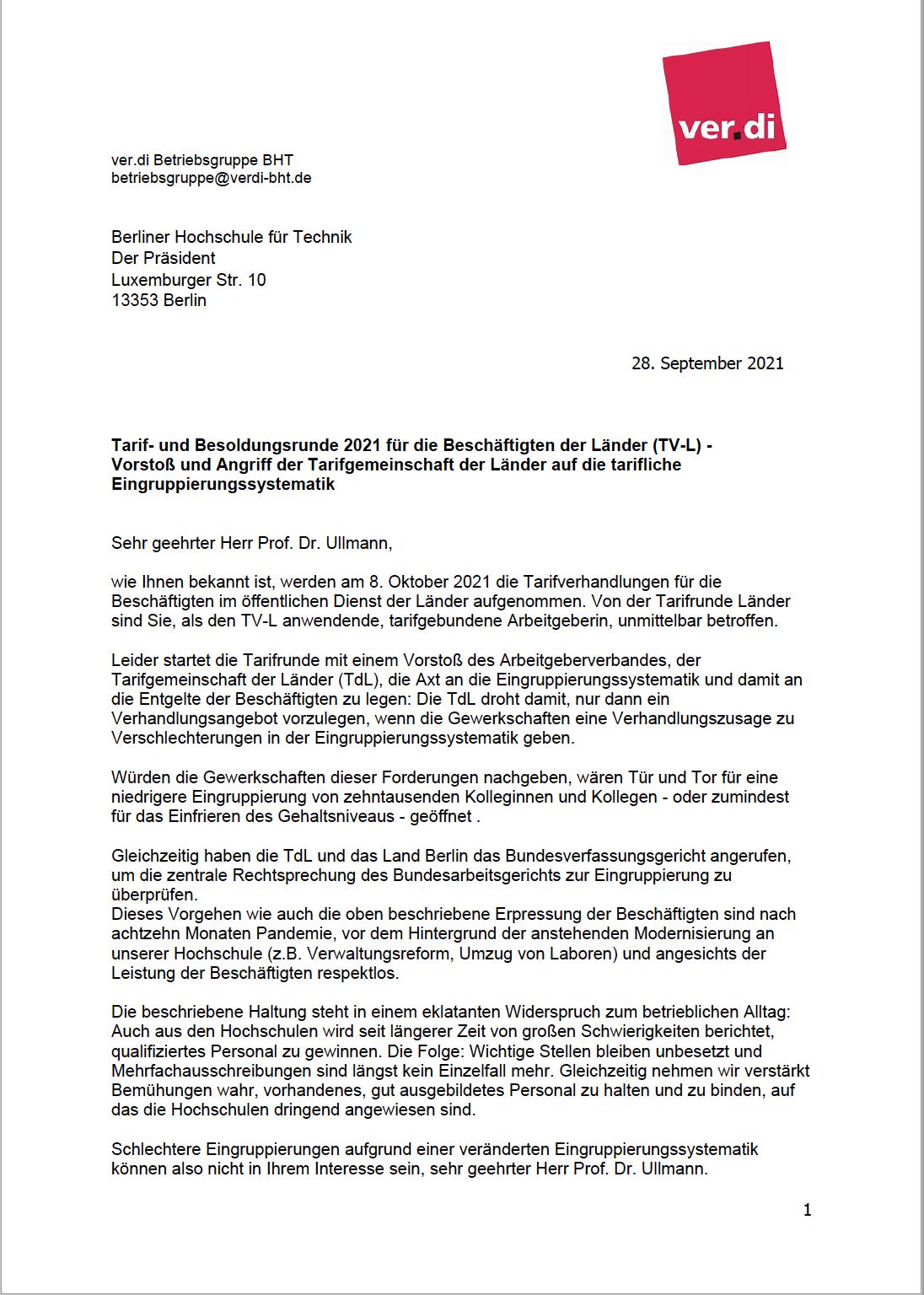 Brief an den Präsidenten, Seite 1 (Siehe PDF für Text)