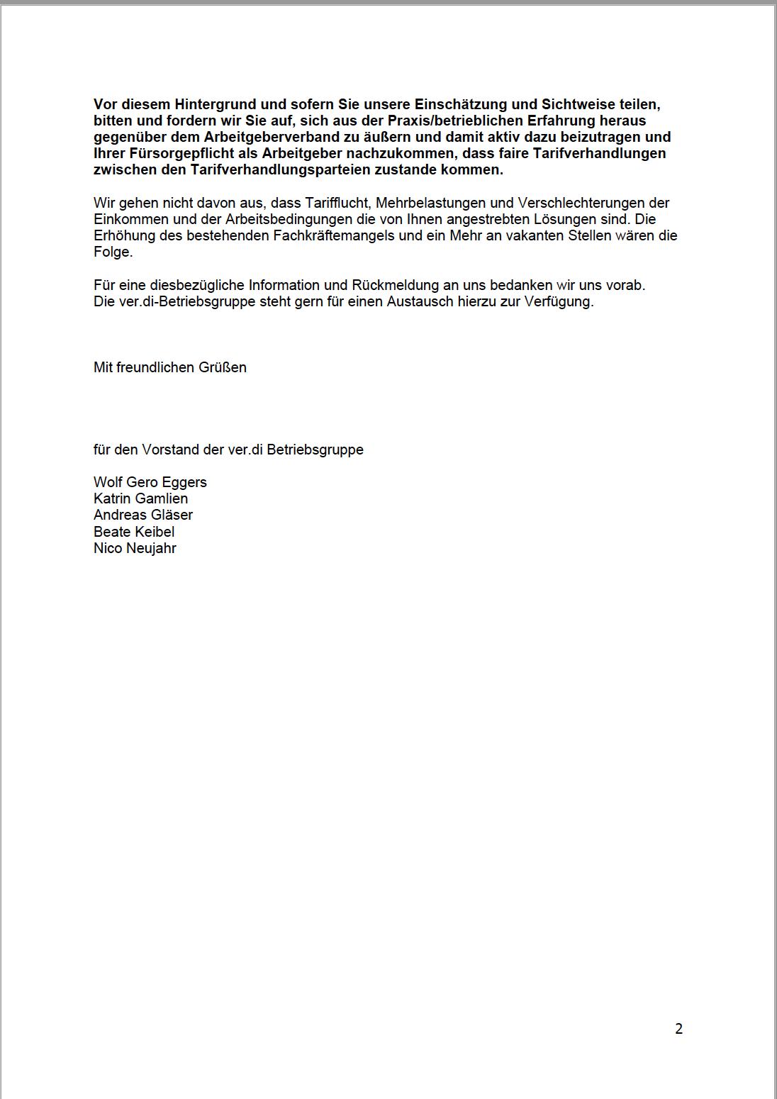 Brief an den Präsidenten, Seite 2 (siehe PDF für Text)